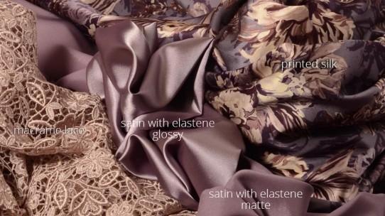Silk-satin with elastene-lace-khadi